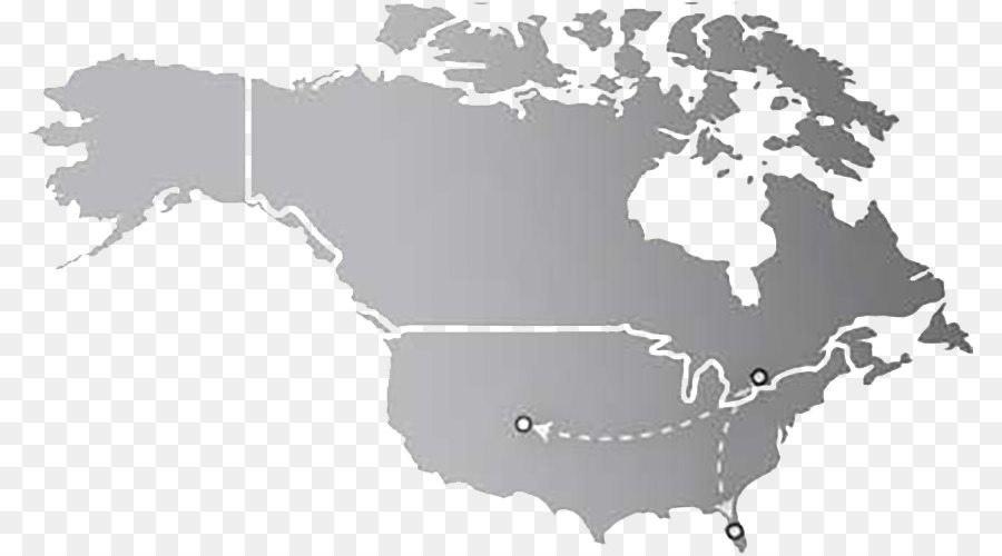 United States Canada South America World Map   Plane gray map of