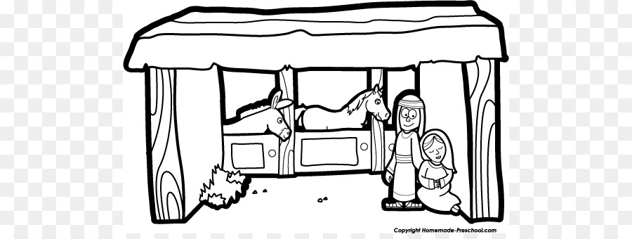 Christmas Stable Drawing.Christmas Black And White