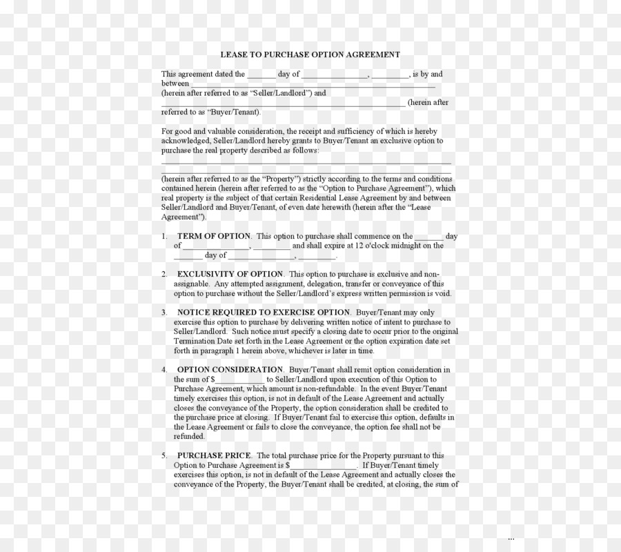 Lease Purchase Contract Lease Option Rent To Own Employment