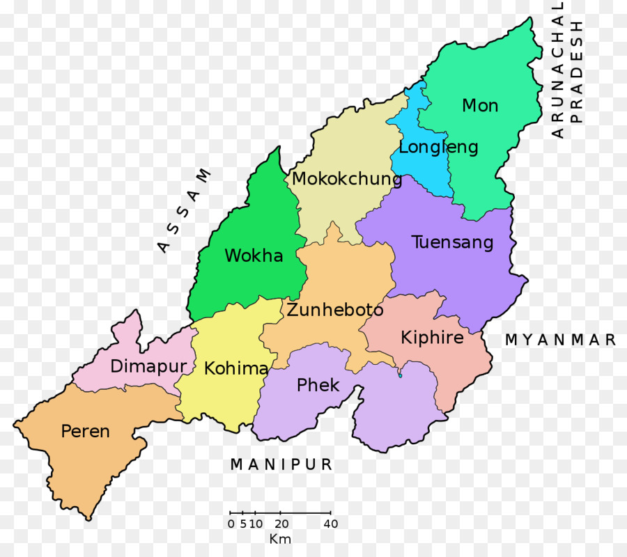 Wokha Kohima Naga Hills District, British India Naga people - map